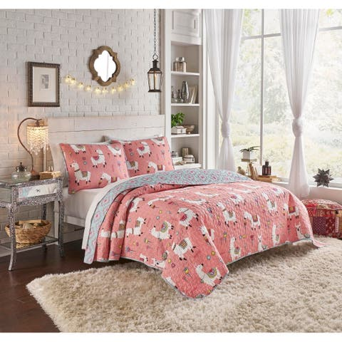 Vue Llama Drama Multi Piece Reversible Quilt Set