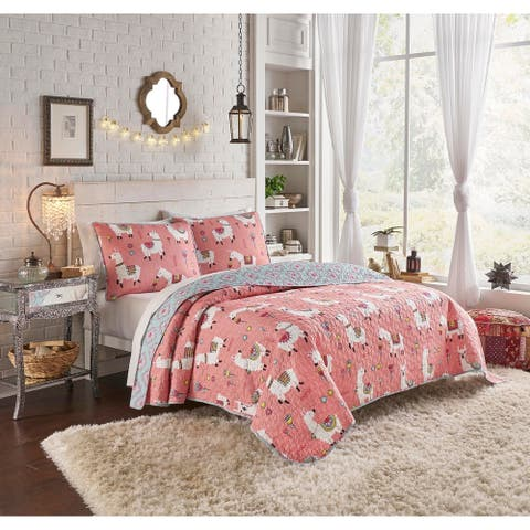 Vue Llama Drama Multi Piece Reversible Quilt Set - King