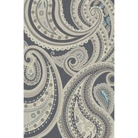 Hometown Deco Paisley Gray Contemporary Area Rug - 5'3 x 7'7