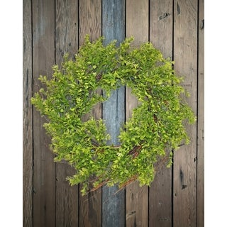 "24"" Boxwood and twig wreath"
