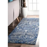 "nuLOOM Damask Carolina Blue Runner Rug (2'8 x 8') - 2'8"" x 8' runner"