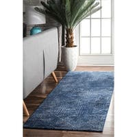 nuLOOM Ikat Abstract Egyptian Blue Runner Rug (2'8 x 8')