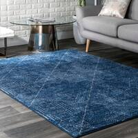 nuLOOM Blue Ikat Abstract Egyptian Area Rug
