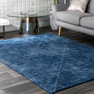 Nuloom Ikat Abstract Egyptian Blue Area Rug 5 X 7