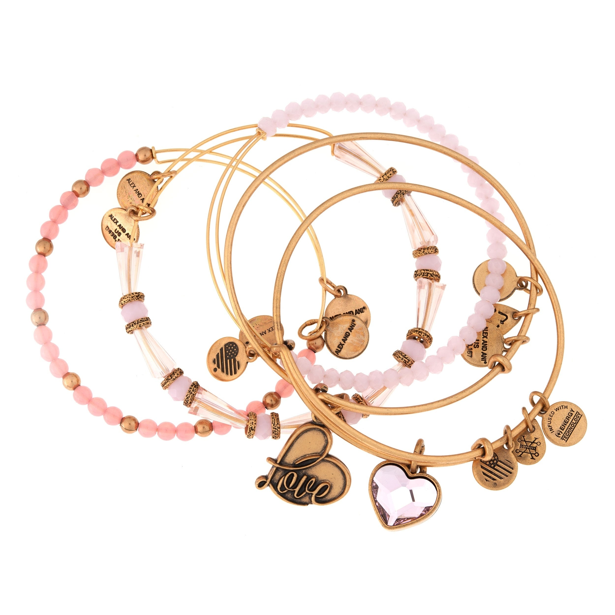 29edbc989 Shop Alex and Ani Alive With Love 5-pc Bangle Set - Pink - Free Shipping  Today - Overstock - 19893651