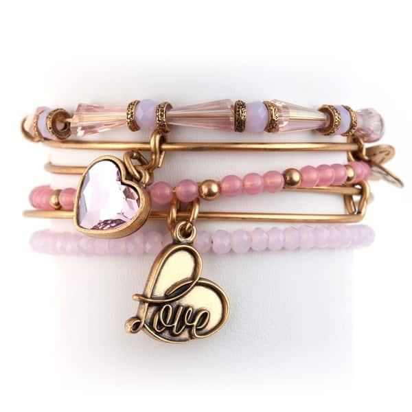 88c6457c0 Alex and Ani Alive With Love 5-pc Bangle Set - Pink. Breadcrumbs. Jewelry  ...