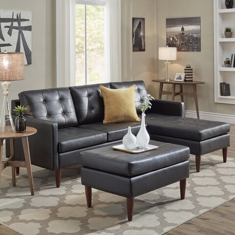 Shawna Black Button Tufted Leather Gel Sofa Sectional with Chaise by iNSPIRE Q Modern