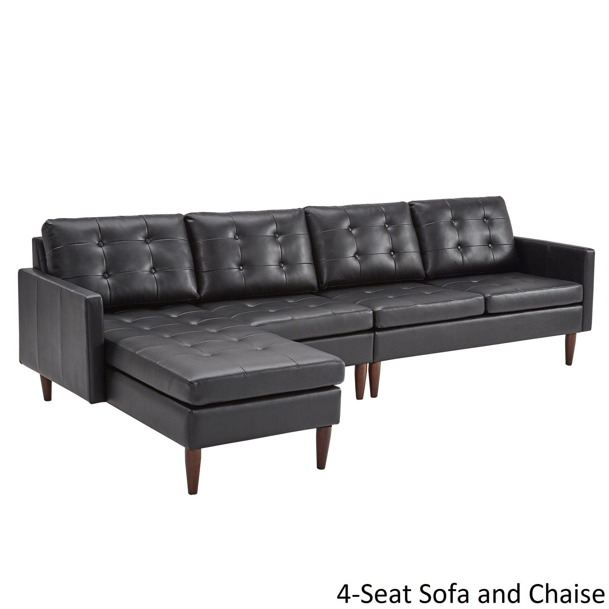 Black Leather Sofa With Chaise Tosh Furniture Modern Black