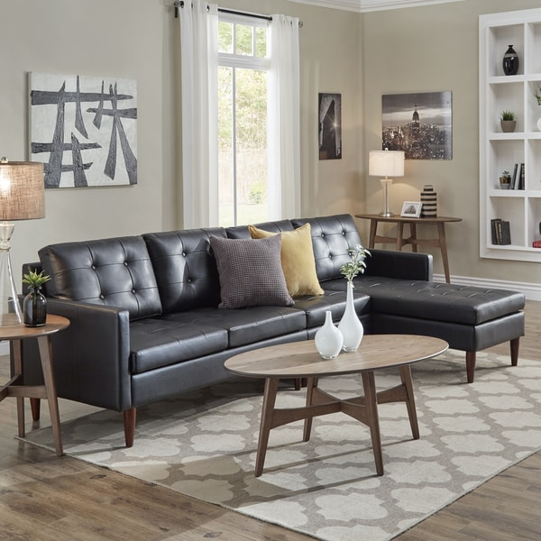 shop shawna black button tufted leather gel sofa sectional with chaise by inspire q modern on. Black Bedroom Furniture Sets. Home Design Ideas