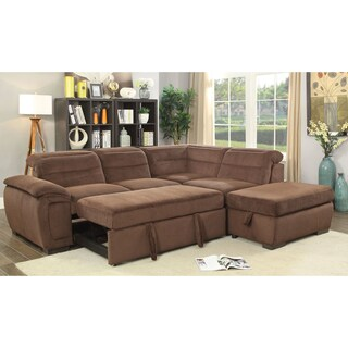 Furniture of America Alina Contemporary 2-piece Chenille Convertible Sleeper Sectional with Ottoman (Option: Brown)
