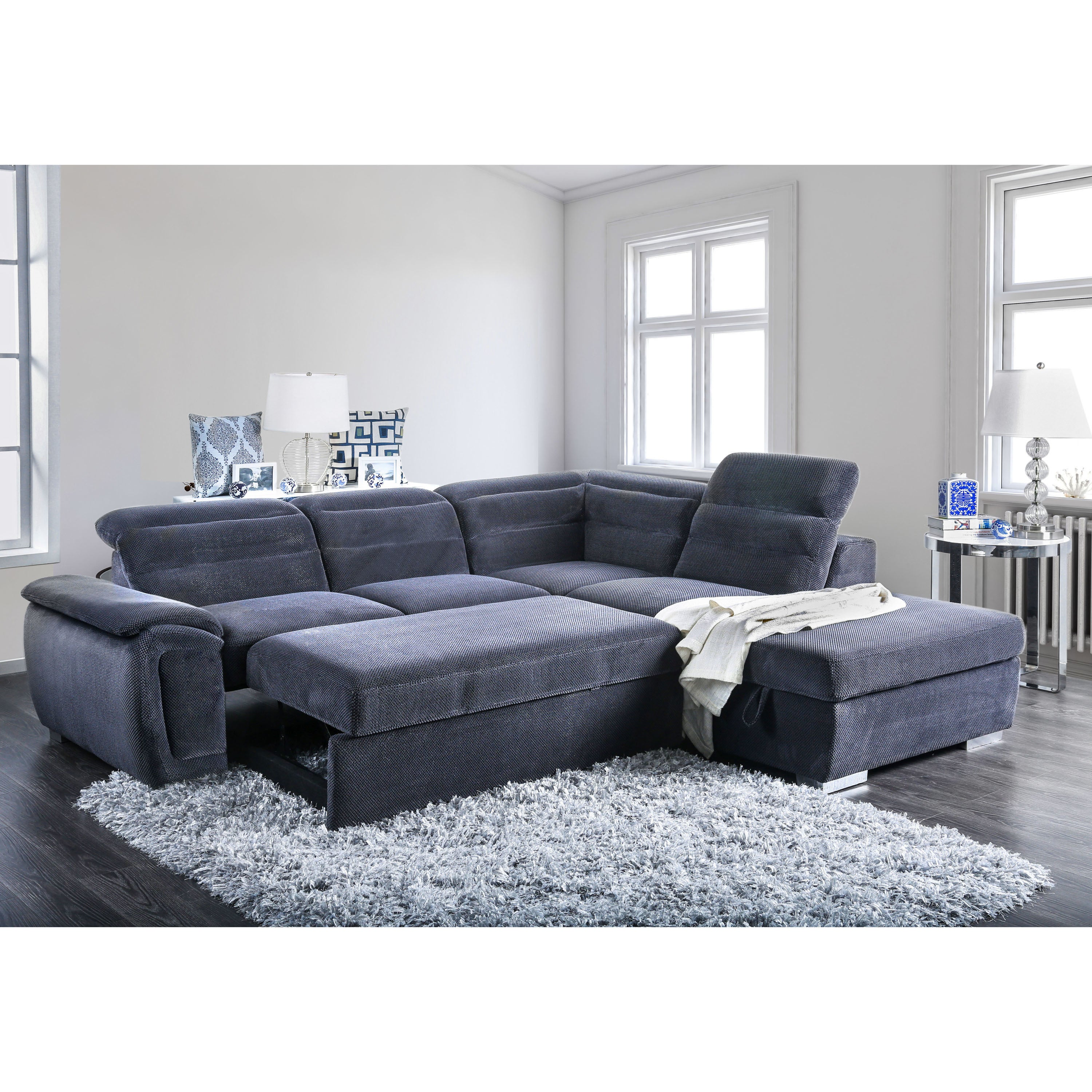 Furniture of america alina contemporary 2 piece chenille convertible sleeper sectional with ottoman