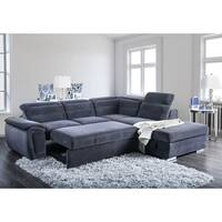 Furniture of America Alina Contemporary 2-piece Chenille Convertible Sleeper Sectional with Ottoman