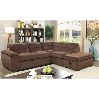 Furniture of America Alina Contemporary Chenille Convertible Sleeper Sectional