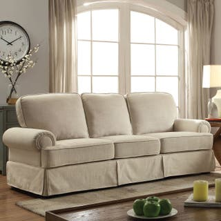 Furniture Of America Eagleton Contemporary Pillow Top Skirted Linen Sofa