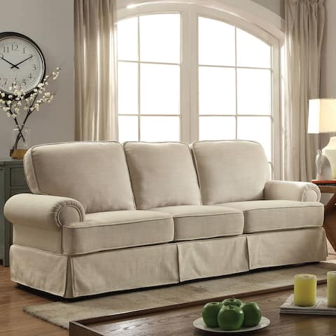 Furniture of America Cupa Contemporary Linen Fabric Upholstered Sofa