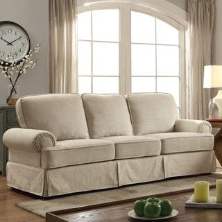 Furniture Of America Eagleton Contemporary Pillow Top Skirted Sofa