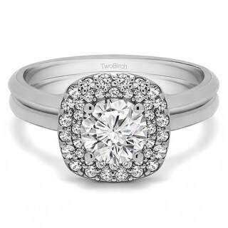 TwoBirch Bridal Set (Two Rings) in 10k Gold and Cubic Zirconia (1.3 tw) - Clear