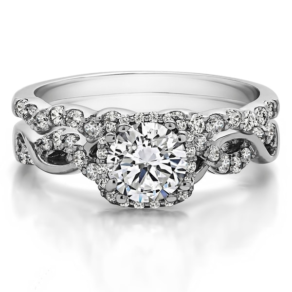 shop twobirch bridal set two rings in 10k gold and cubic zirconia