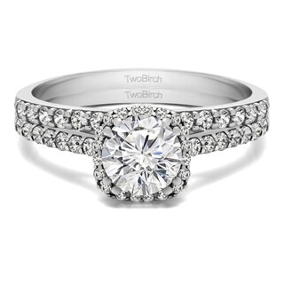 TwoBirch Bridal Set (Two Rings) in 10k Gold and Cubic Zirconia (1.54 tw) - Clear