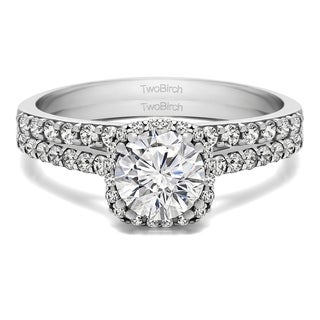 TwoBirch Bridal Set (Two Rings) in 14k Gold and Cubic Zirconia (1.54 tw) - Clear