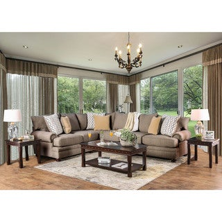 Furniture of America Lema Transitional Brown Linen Fabric  Sectional