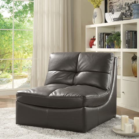 Furniture of America Elti Modern Grey Faux Leather Tufted Accent Chair