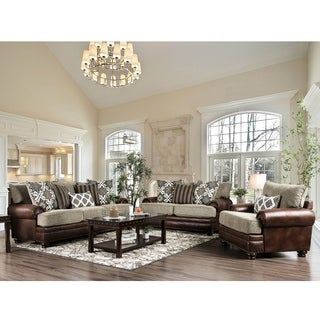 Olrey Transitional Brown Upholstered Sofa by FOA