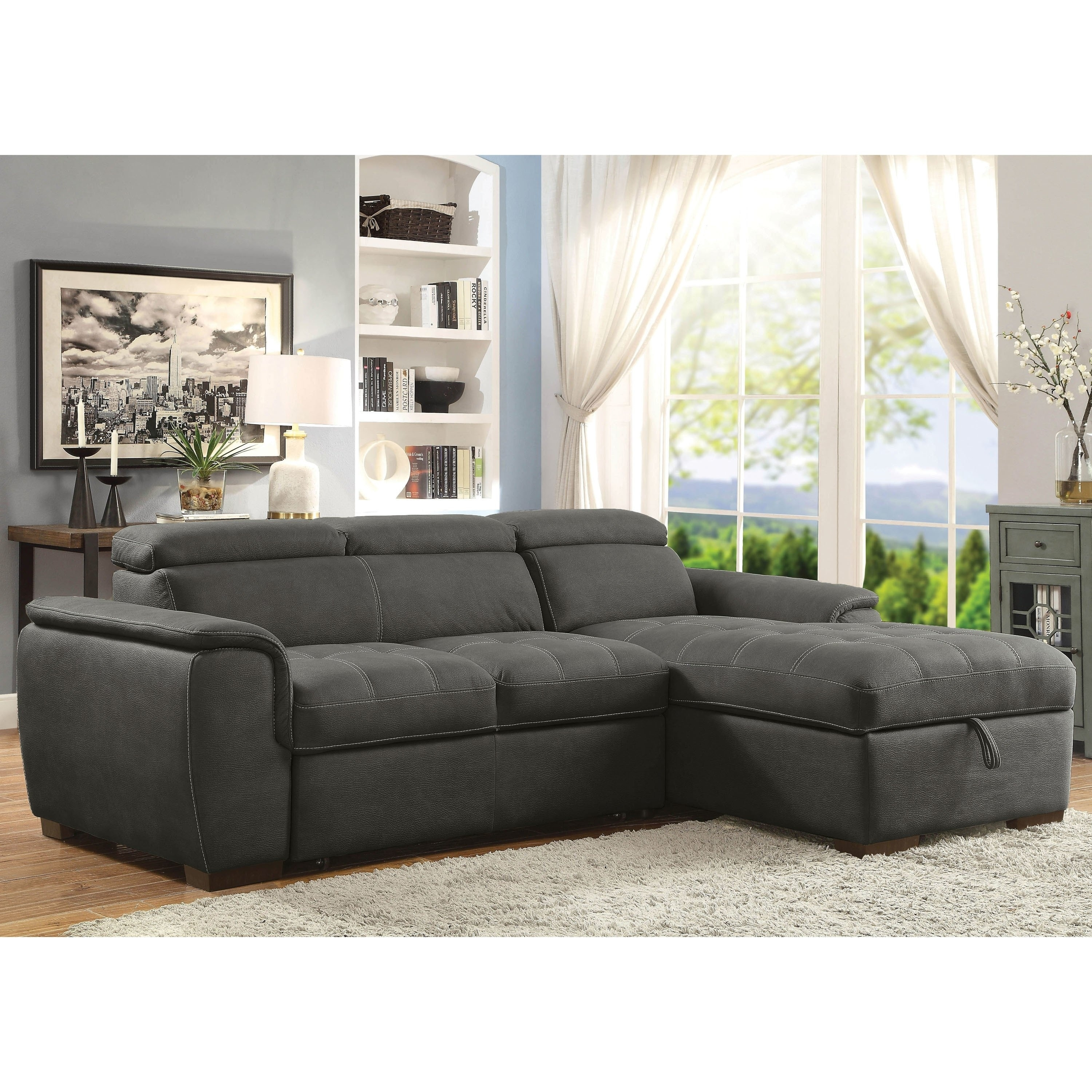 Furniture of America Nerg Contemporary Faux Nubuck Sleeper Sectional