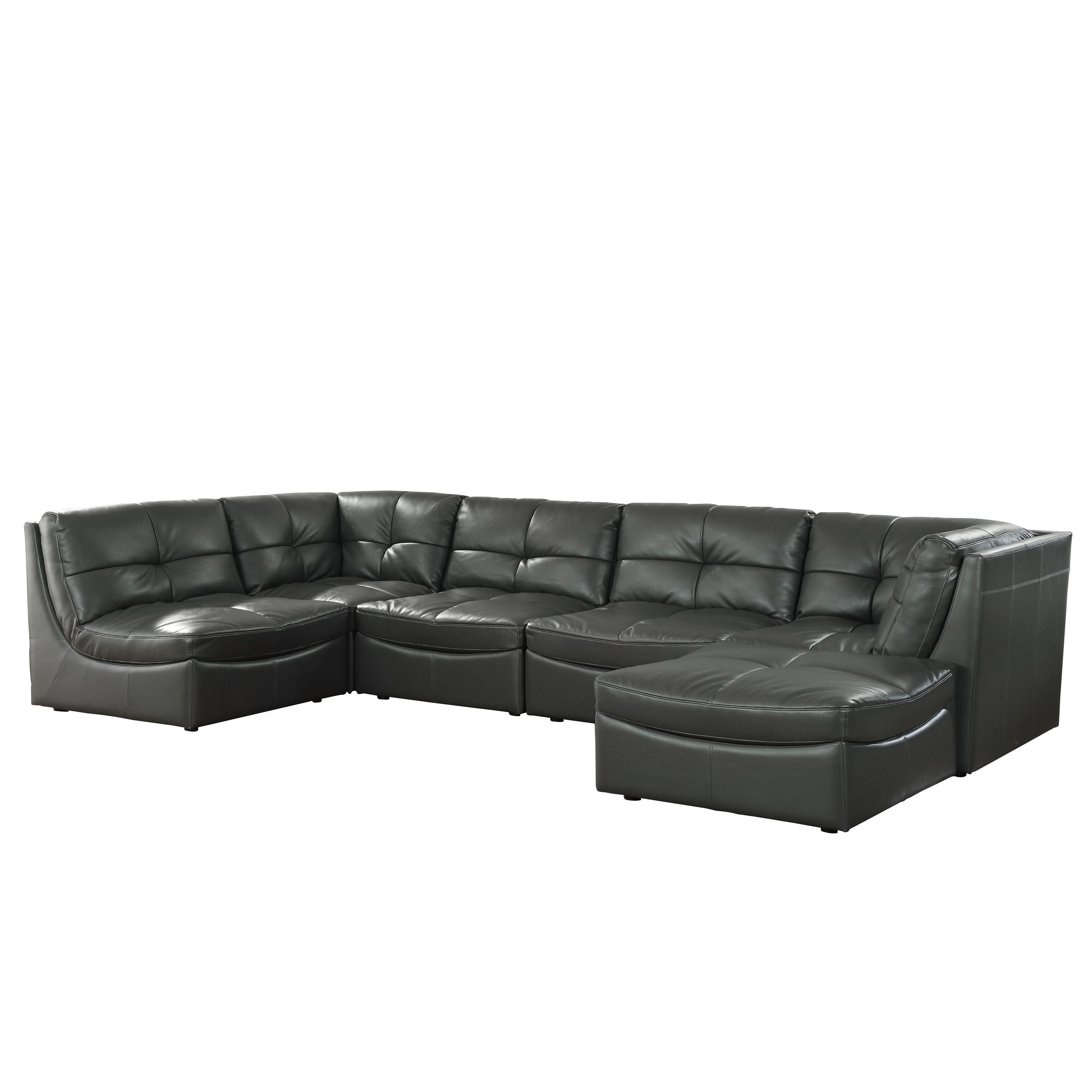 Furniture Of America Rile Grey 6 Piece Modular Sectional With Ottoman