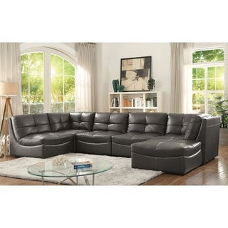 Furniture of America Draven Contemporary 6-piece Grey Faux Leather Modular Sectional with Ottoman