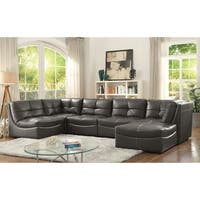 Furniture of America Draven Contemporary 6-piece Grey Leather Gel Modular Sectional with Ottoman