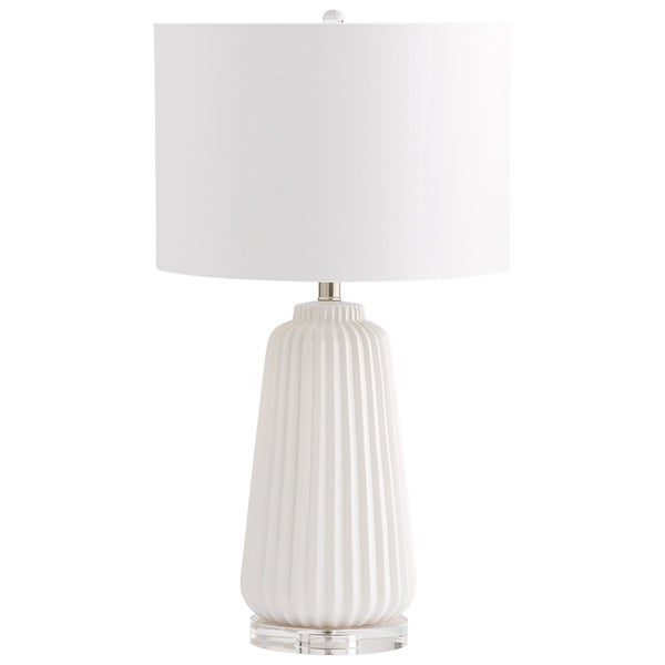 Cyan Design Delphine White Textured Ceramic Crystal Base Table Lamp