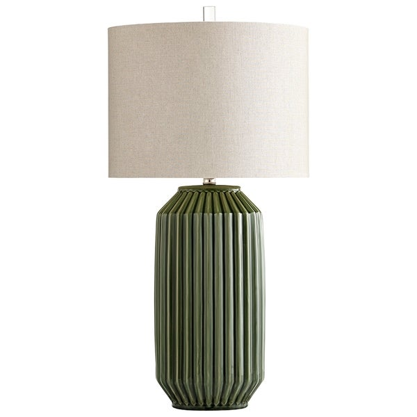 Allison Green Ceramic Table Lamp with White Linen Shade