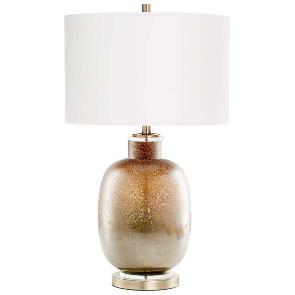 Cyan Design August Night Glass and Linen Brown and Off-white Table Lamp