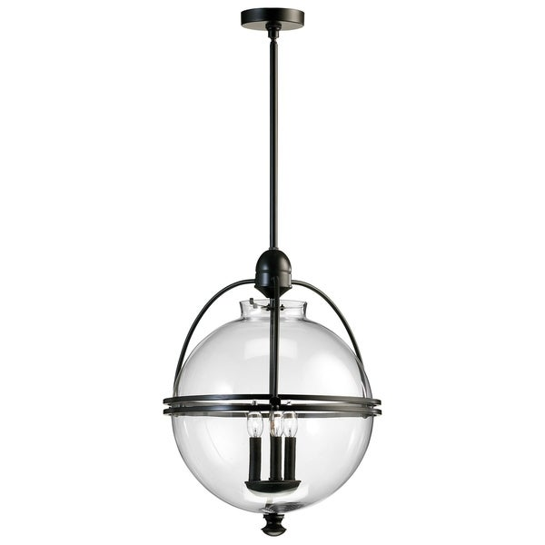 Clear Glass/Iron Ornamental Ball Pendant