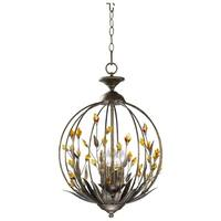 Amber Iron Chandelier With Crystal Accents
