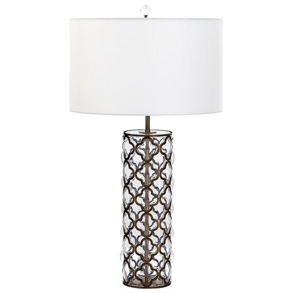 Large Corsica White Fabric Glass Iron Table Lamp