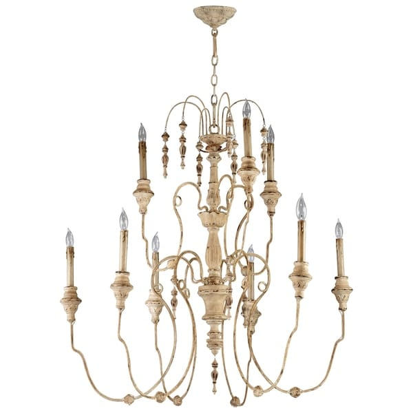 Maison White Persian Wood Iron 9-light Chandelier