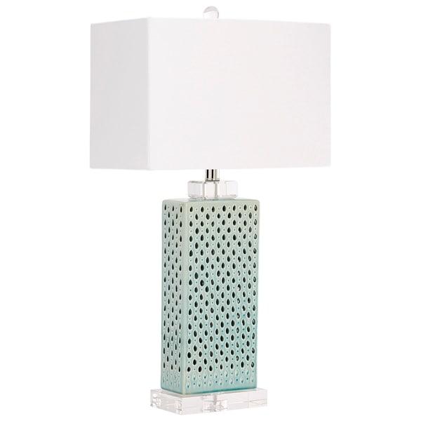 Cyan Design Sareta Blue and White Ceramic, Crystal, and Linen Table Lamp
