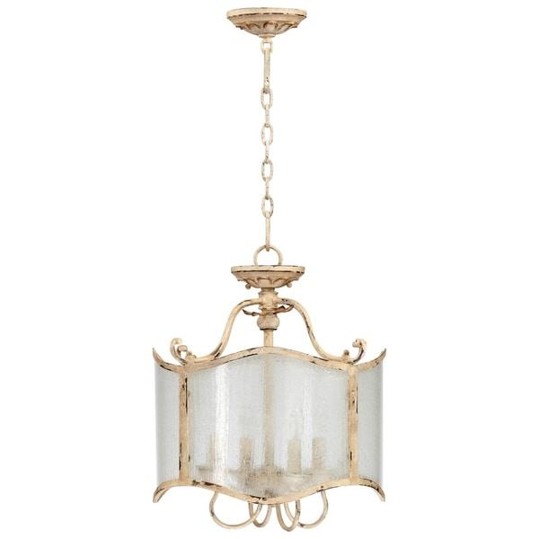 Maison Persian White Wrought Iron Glass 4-light Dual Mount Chandelier