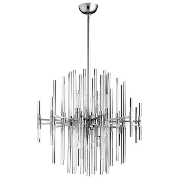 Quebec Satin Nickel Glass 6-light Pendant