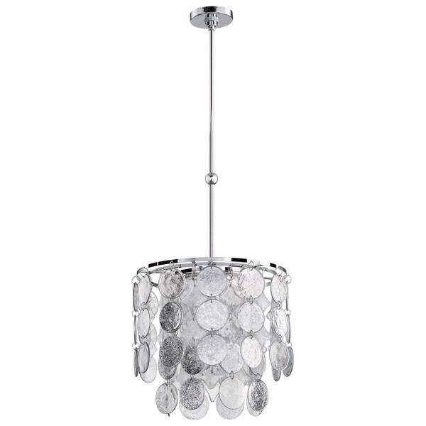 Carina Silver-tone/Chrome Glass 3-light Pendant Light