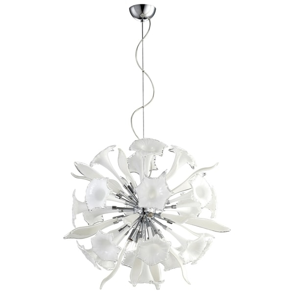 Remy White/Chrome Glass/Metal Small 12-light Pendant