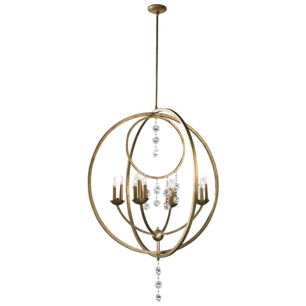 Emilia Silver Leaf Iron and Glass 16-light Chandelier