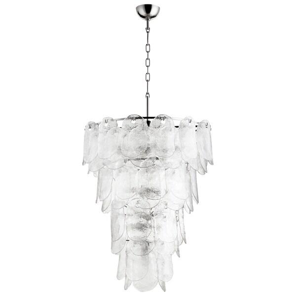 Cascata Glass/Nickel 15-light Modern Pendant