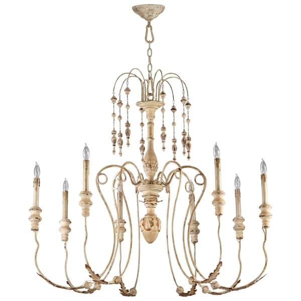 Maison Persian White Wrought Iron/Wood 8-light Chandelier