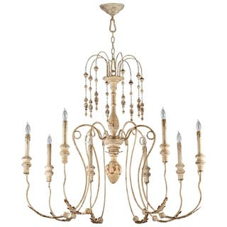 Cyan design chandeliers for less overstock maison persian white wrought ironwood 8 light chandelier aloadofball Gallery