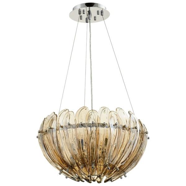 Aerie Chrome/Cognac Glass Small 5-light Pendant