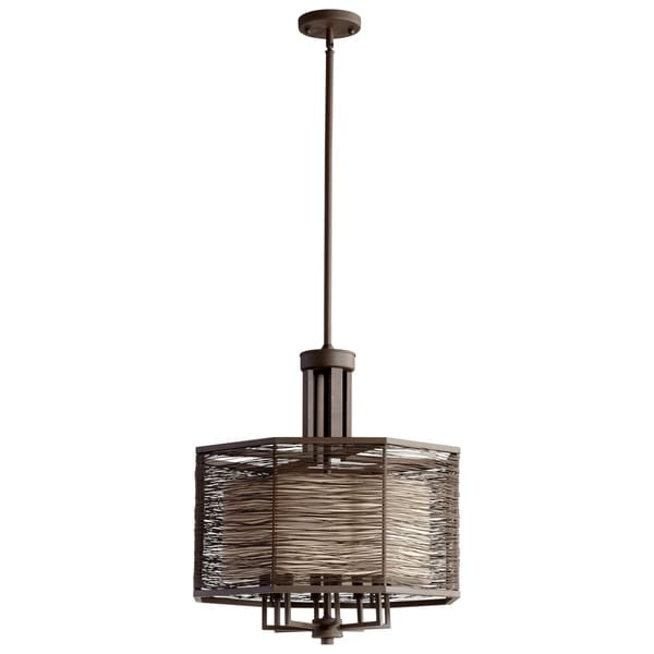 Pascal Old World-finished Iron 8-light Transitional Chandelier with Cotton Shade