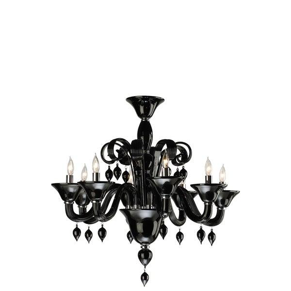 Black Glass 8-light Chandelier